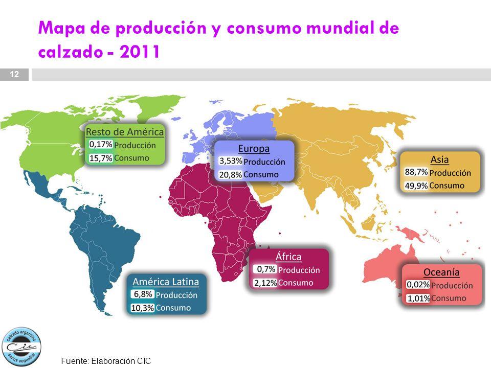 Mapa de producción y consumo mundial de calzado - 2011