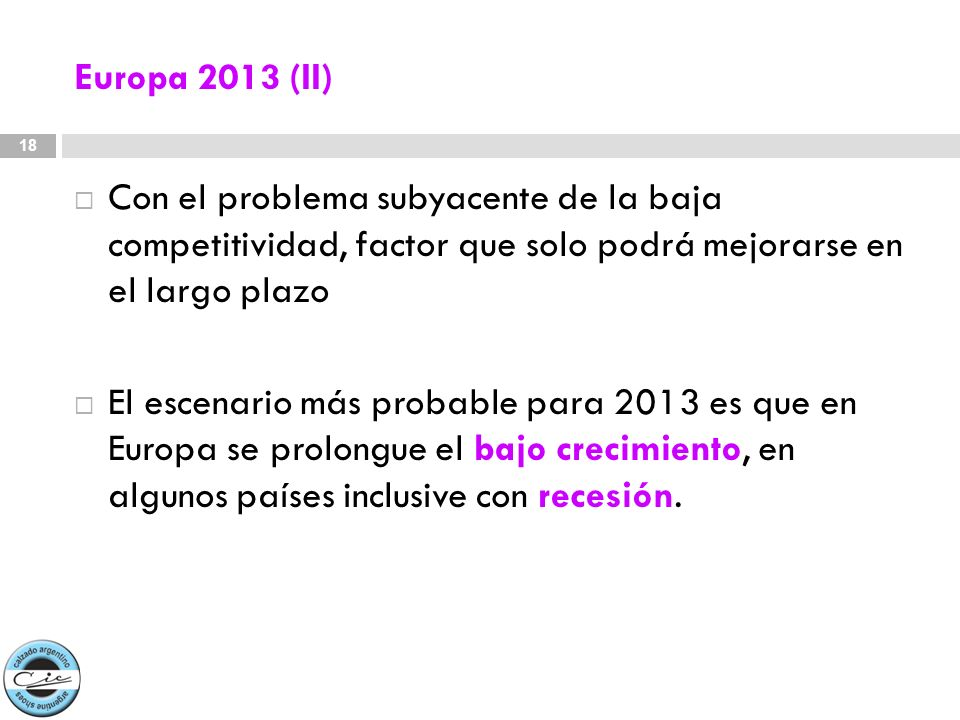 Europa 2013 (II)Con el problema subyacente de la baja competitividad, factor que solo podrá mejorarse en el largo plazo.