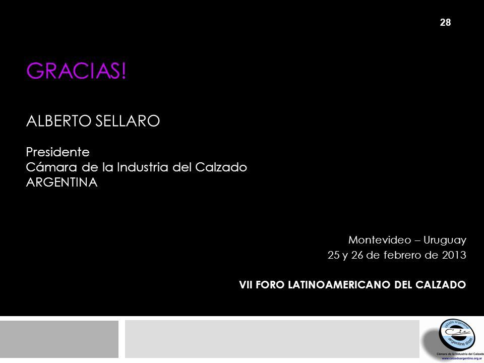 GRACIAS! Alberto Sellaro Presidente Cámara de la Industria del Calzado Argentina