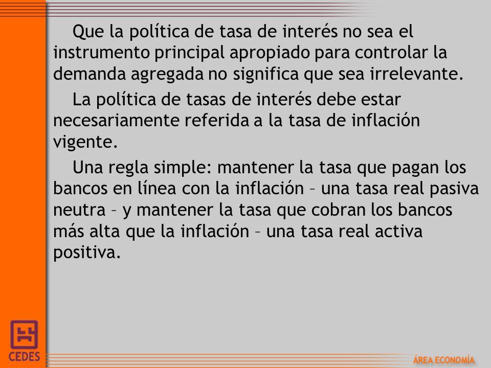 Que la política de tasa de interés no sea el instrumento principal apropiado para controlar la demanda agregada no significa que sea irrelevante.
