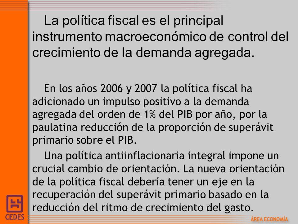La política fiscal es el principal instrumento macroeconómico de control del crecimiento de la demanda agregada.