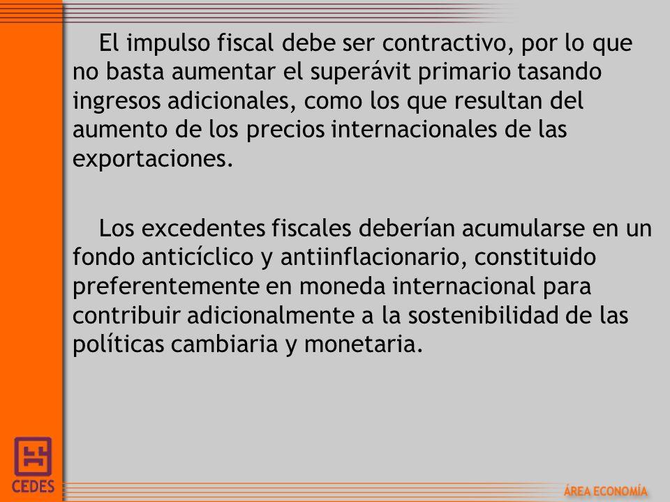 El impulso fiscal debe ser contractivo, por lo que no basta aumentar el superávit primario tasando ingresos adicionales, como los que resultan del aumento de los precios internacionales de las exportaciones.