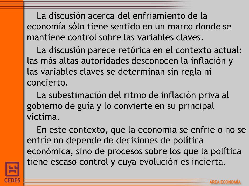 La discusión acerca del enfriamiento de la economía sólo tiene sentido en un marco donde se mantiene control sobre las variables claves.
