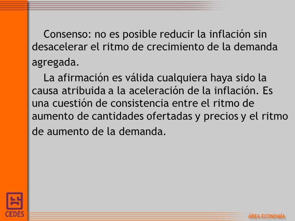 Consenso: no es posible reducir la inflación sin desacelerar el ritmo de crecimiento de la demanda agregada.