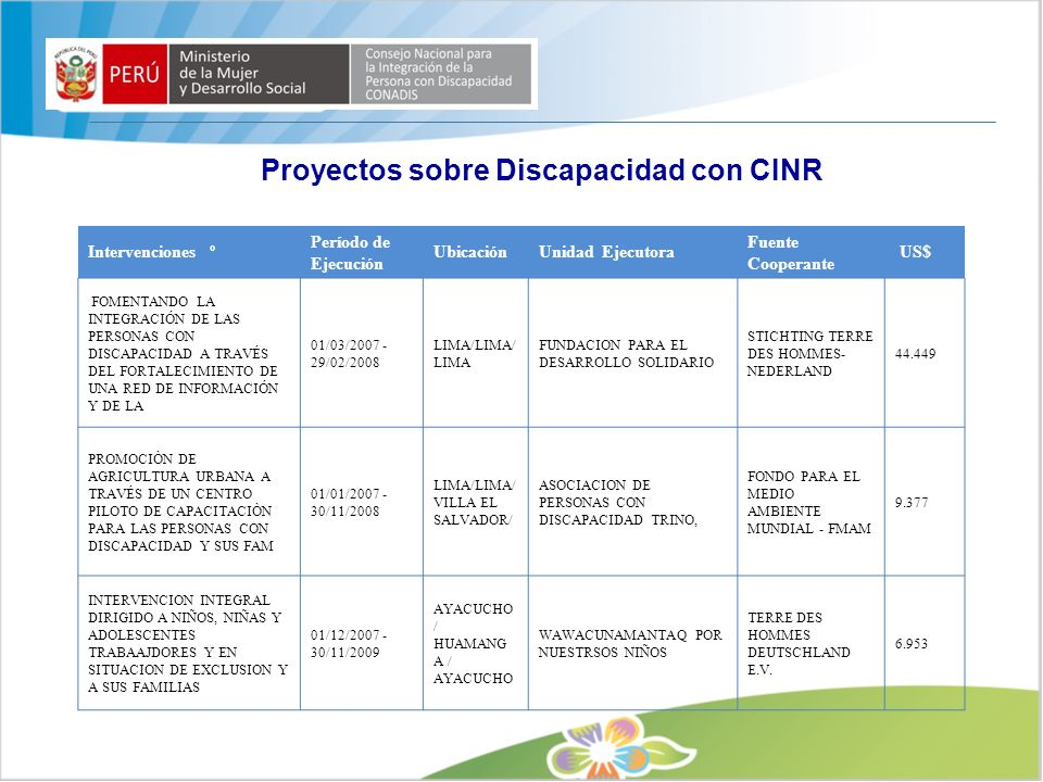 Proyectos sobre Discapacidad con CINR