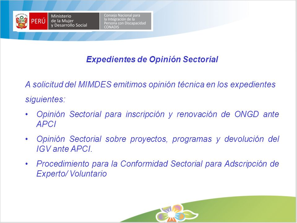 Expedientes de Opinión Sectorial