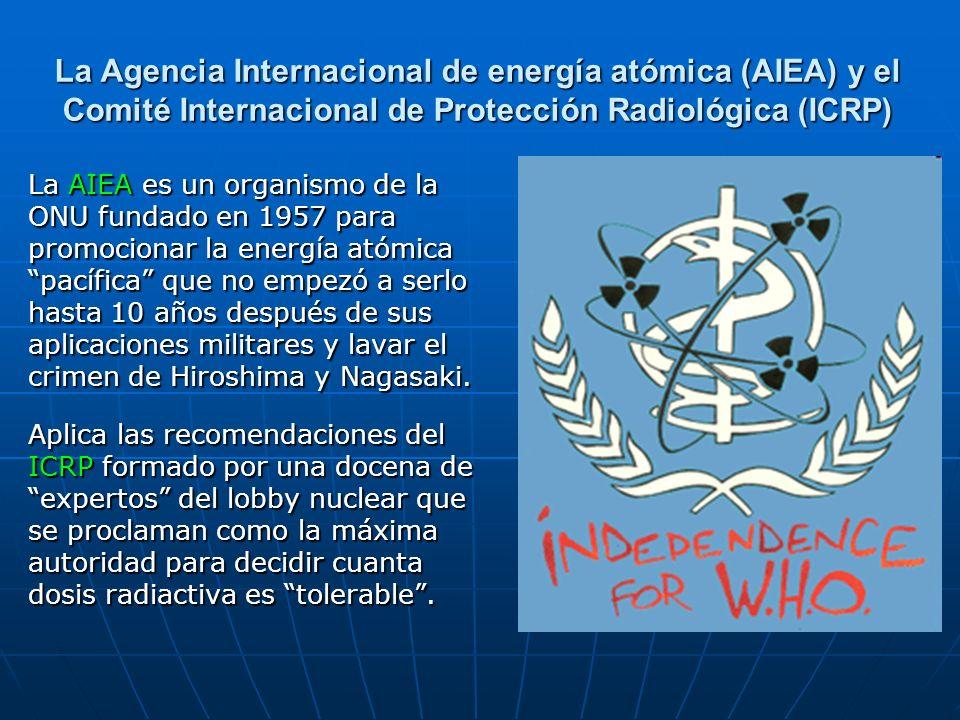 La Agencia Internacional de energía atómica (AIEA) y el Comité Internacional de Protección Radiológica (ICRP)