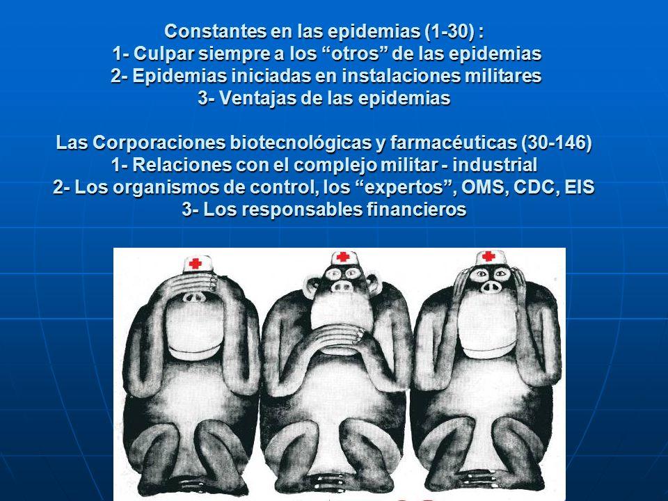 Constantes en las epidemias (1-30) : 1- Culpar siempre a los otros de las epidemias 2- Epidemias iniciadas en instalaciones militares 3- Ventajas de las epidemias Las Corporaciones biotecnológicas y farmacéuticas (30-146) 1- Relaciones con el complejo militar - industrial 2- Los organismos de control, los expertos , OMS, CDC, EIS 3- Los responsables financieros