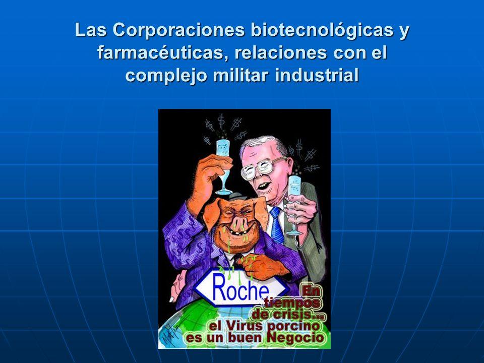 Las Corporaciones biotecnológicas y farmacéuticas, relaciones con el complejo militar industrial