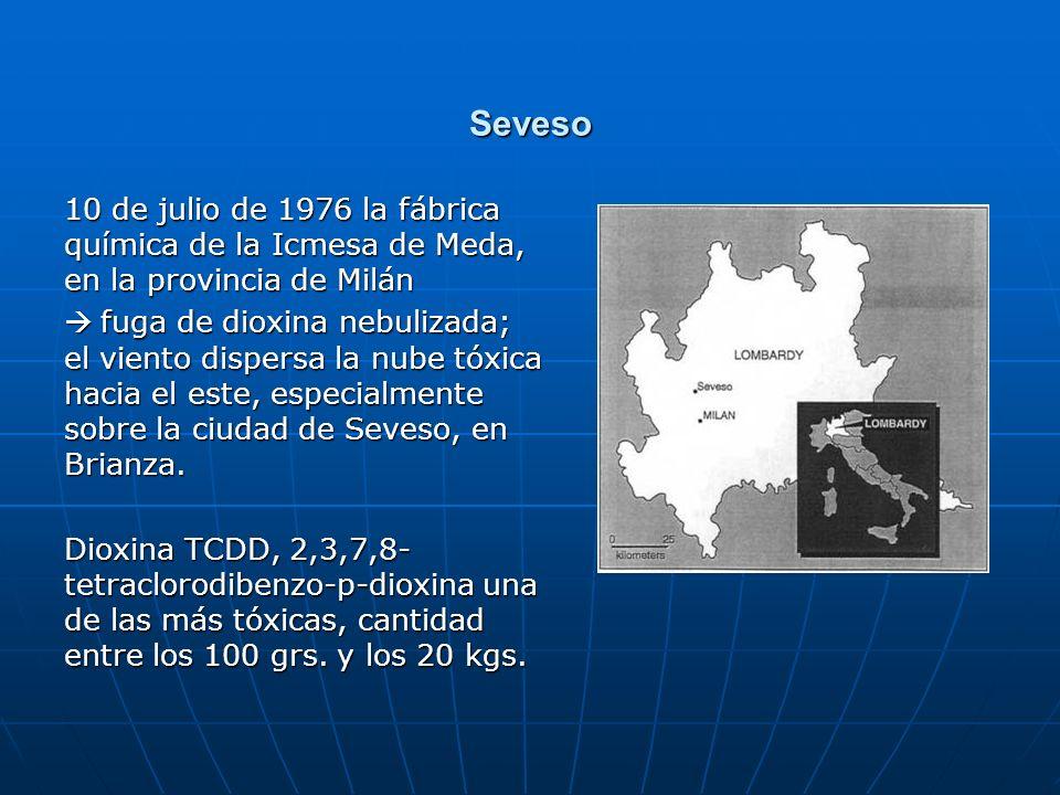 Seveso 10 de julio de 1976 la fábrica química de la Icmesa de Meda, en la provincia de Milán.