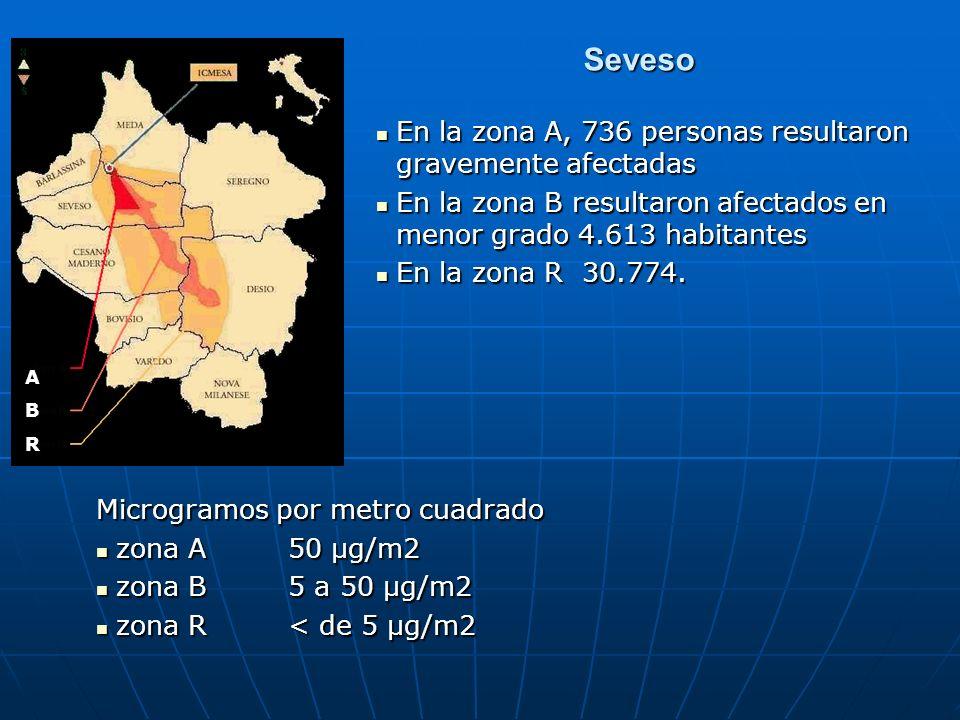 Seveso En la zona A, 736 personas resultaron gravemente afectadas