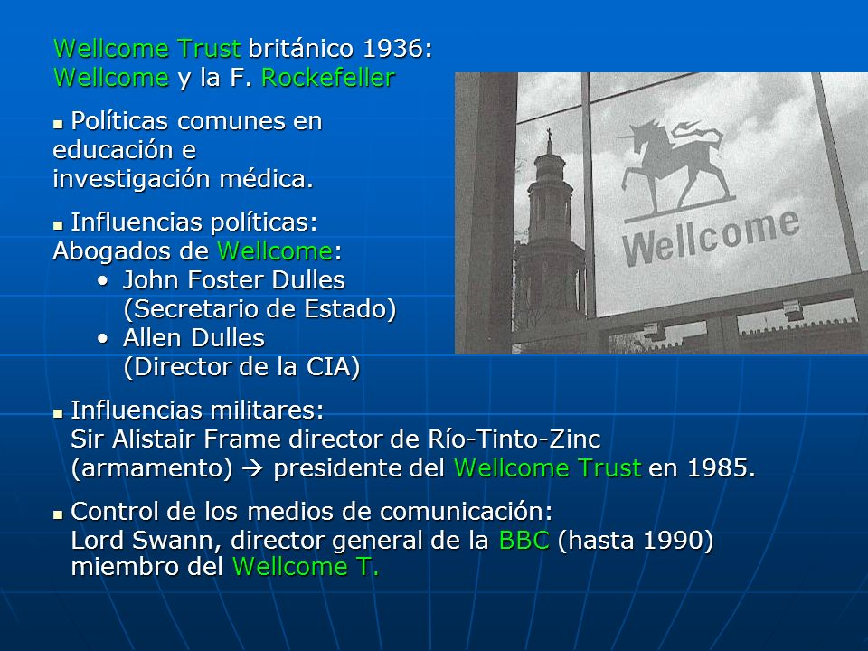 Wellcome Trust británico 1936: Wellcome y la F. Rockefeller
