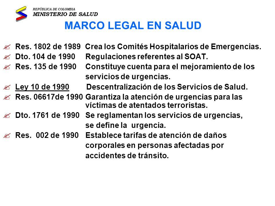 REPÚBLICA DE COLOMBIA MINISTERIO DE SALUD. MARCO LEGAL EN SALUD. Res. 1802 de 1989 Crea los Comités Hospitalarios de Emergencias.