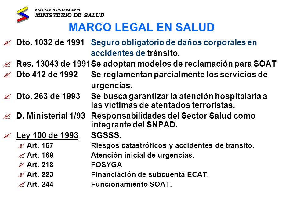 REPÚBLICA DE COLOMBIA MINISTERIO DE SALUD. MARCO LEGAL EN SALUD. Dto. 1032 de 1991 Seguro obligatorio de daños corporales en.