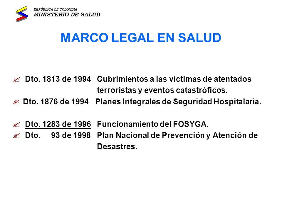 REPÚBLICA DE COLOMBIA MINISTERIO DE SALUD. MARCO LEGAL EN SALUD. Dto. 1813 de 1994 Cubrimientos a las víctimas de atentados.
