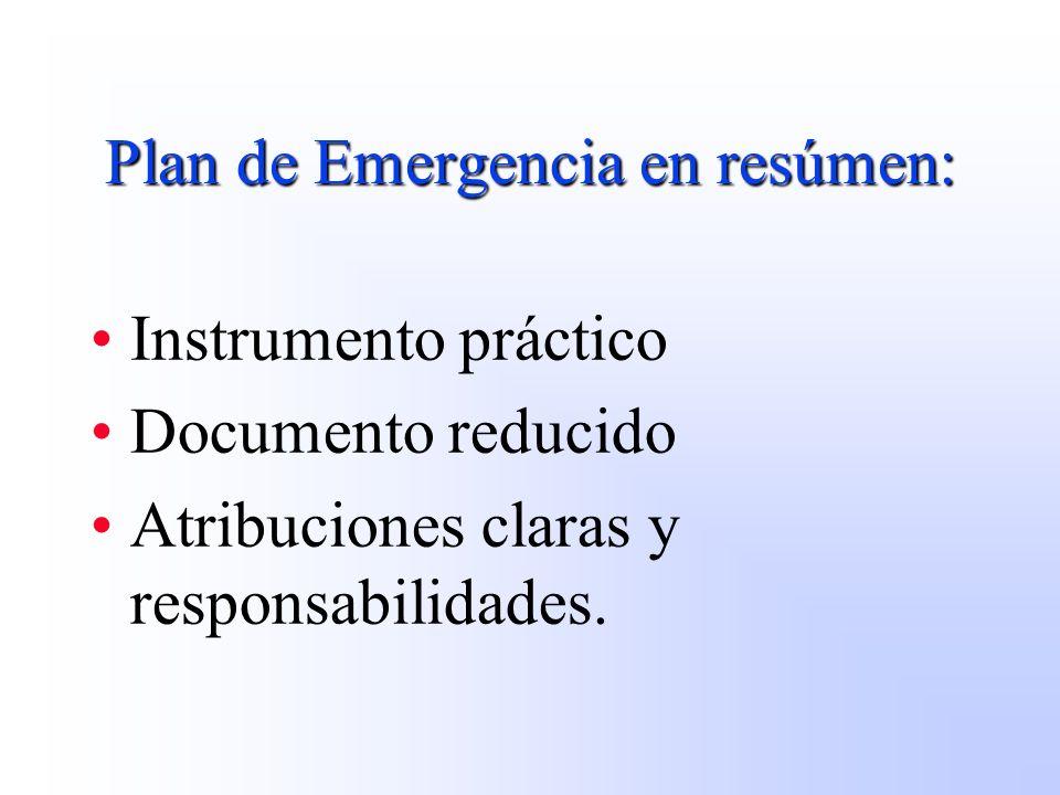 Plan de Emergencia en resúmen: