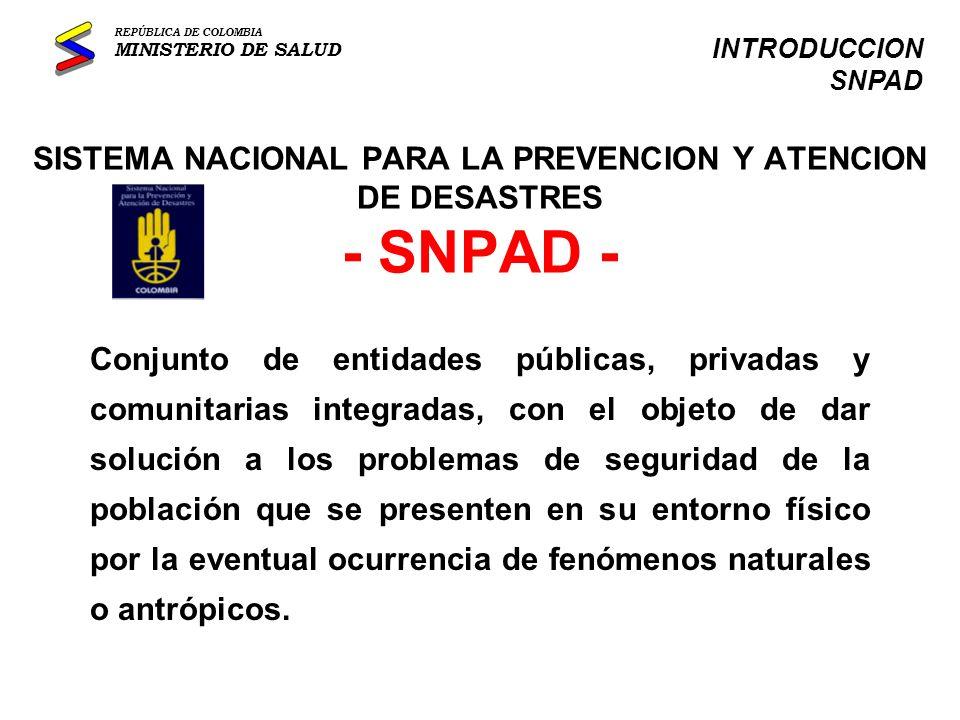 SISTEMA NACIONAL PARA LA PREVENCION Y ATENCION DE DESASTRES - SNPAD -