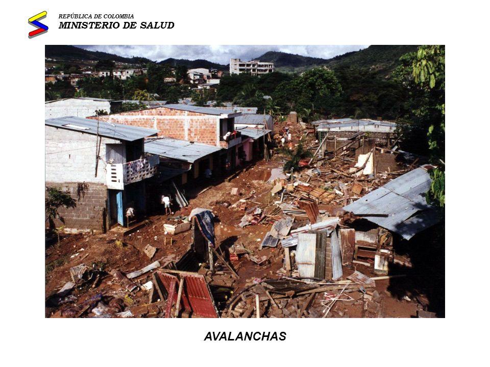 REPÚBLICA DE COLOMBIA MINISTERIO DE SALUD AVALANCHAS
