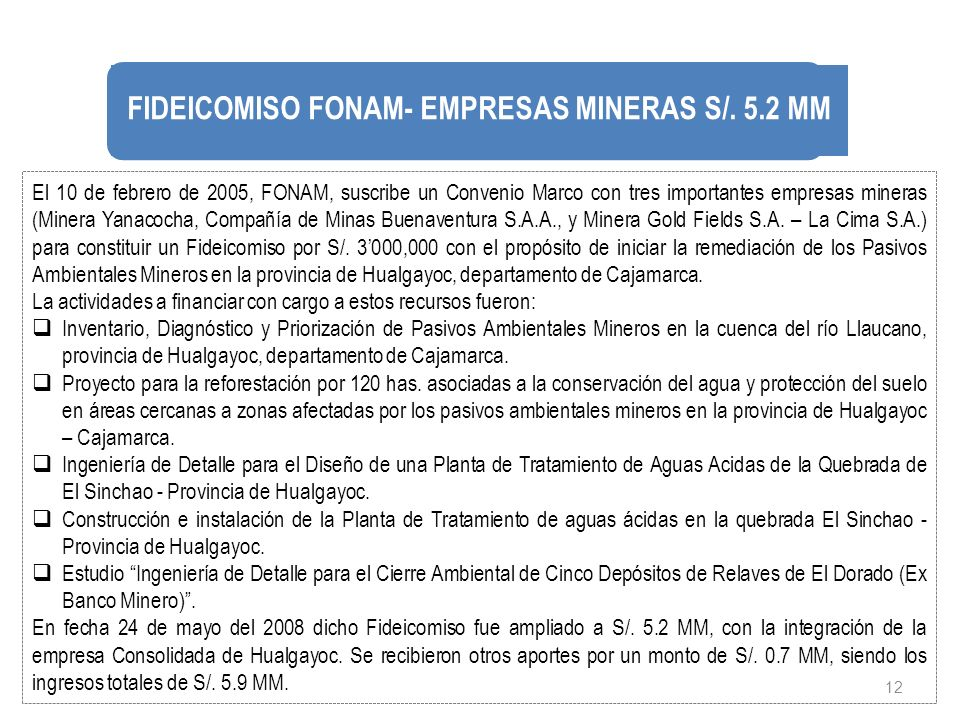 FIDEICOMISO FONAM- EMPRESAS MINERAS S/. 5.2 MM