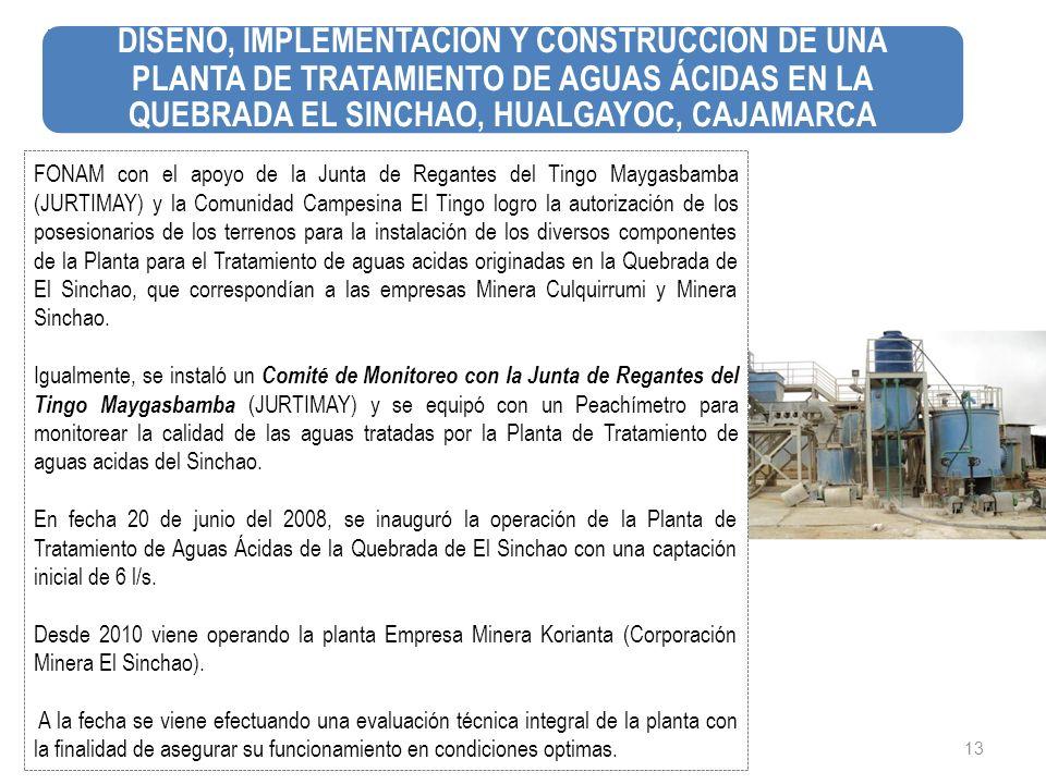 DISEÑO, IMPLEMENTACIÓN Y CONSTRUCCION DE UNA PLANTA DE TRATAMIENTO DE AGUAS ÁCIDAS EN LA QUEBRADA EL SINCHAO, HUALGAYOC, CAJAMARCA