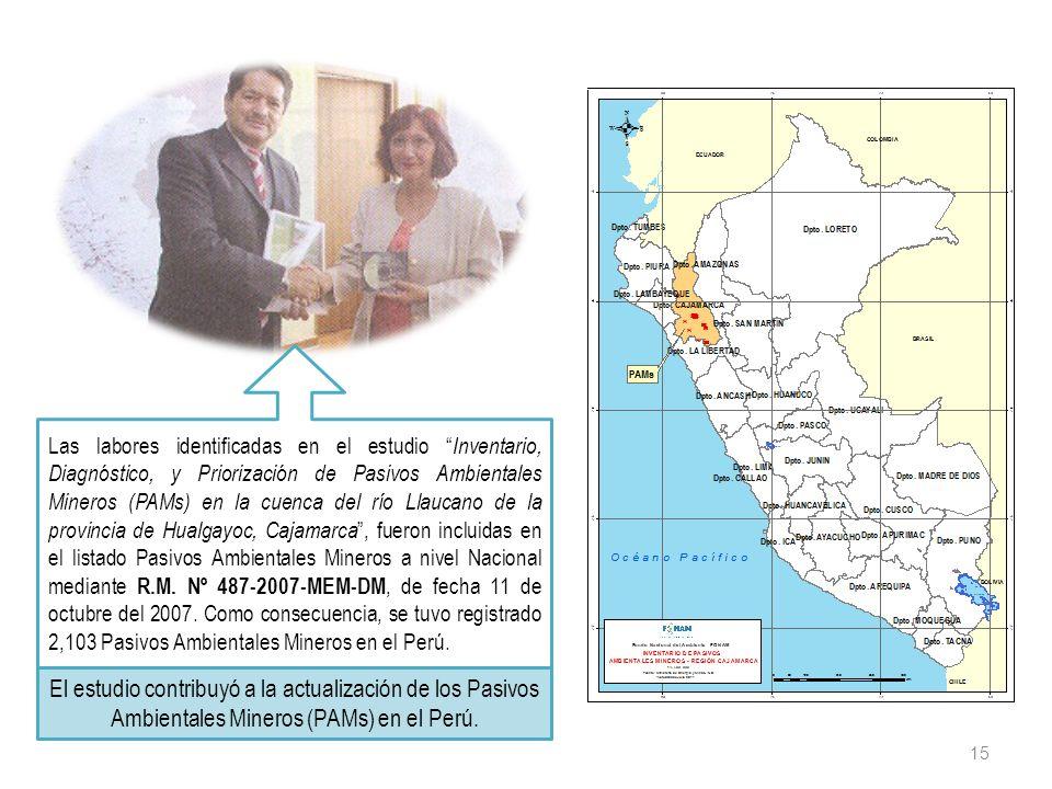 Las labores identificadas en el estudio Inventario, Diagnóstico, y Priorización de Pasivos Ambientales Mineros (PAMs) en la cuenca del río Llaucano de la provincia de Hualgayoc, Cajamarca , fueron incluidas en el listado Pasivos Ambientales Mineros a nivel Nacional mediante R.M. Nº 487-2007-MEM-DM, de fecha 11 de octubre del 2007. Como consecuencia, se tuvo registrado 2,103 Pasivos Ambientales Mineros en el Perú.