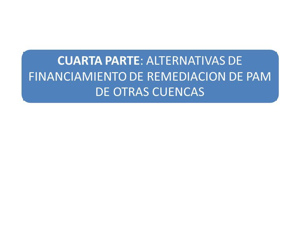 CUARTA PARTE: ALTERNATIVAS DE FINANCIAMIENTO DE REMEDIACION DE PAM DE OTRAS CUENCAS