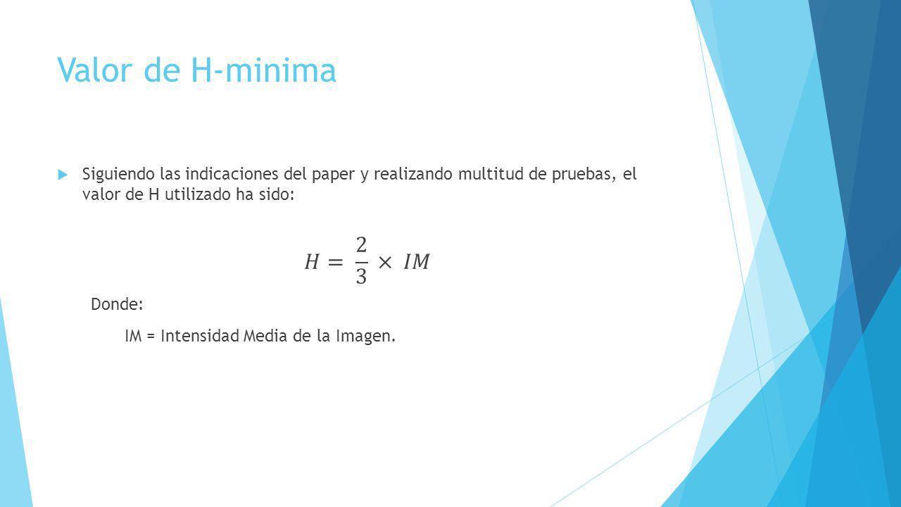 Valor de H-minima 𝐻= 2 3 × 𝐼𝑀 IM = Intensidad Media de la Imagen.