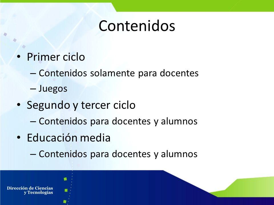 Contenidos Primer ciclo Segundo y tercer ciclo Educación media