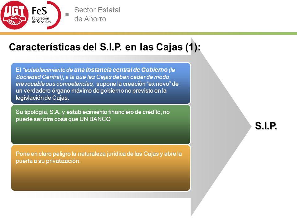 Características del S.I.P. en las Cajas (1):