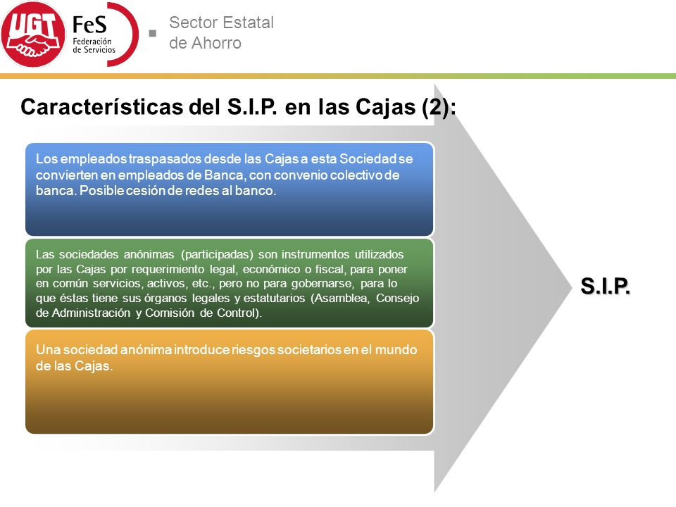 Características del S.I.P. en las Cajas (2):