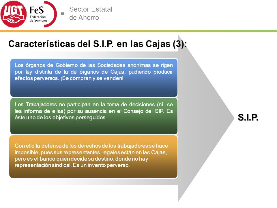 Características del S.I.P. en las Cajas (3):