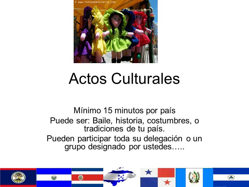 Actos Culturales Mínimo 15 minutos por país