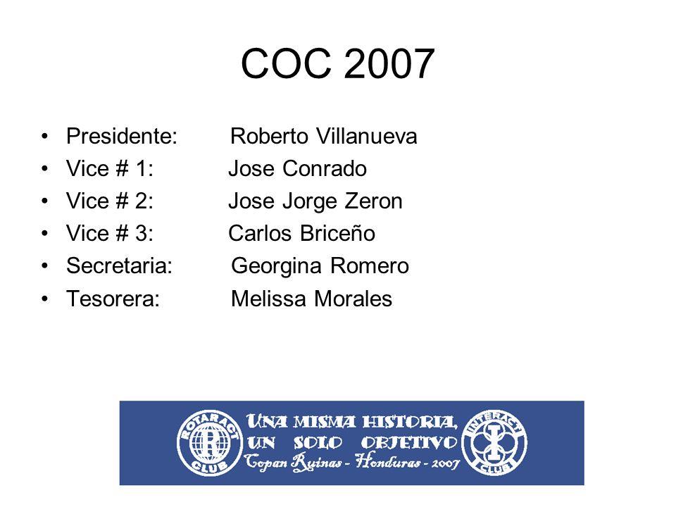 COC 2007 Presidente: Roberto Villanueva Vice # 1: Jose Conrado