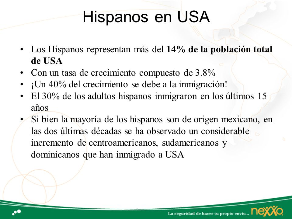 Hispanos en USA Los Hispanos representan más del 14% de la población total de USA. Con un tasa de crecimiento compuesto de 3.8%