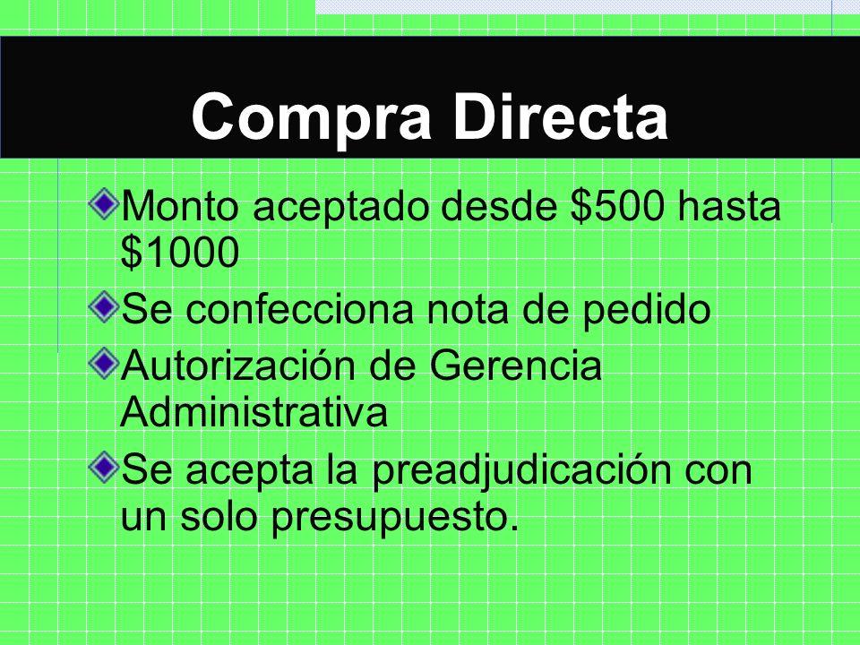 Compra Directa COMPRA DIRECTA Monto aceptado desde $500 hasta $1000