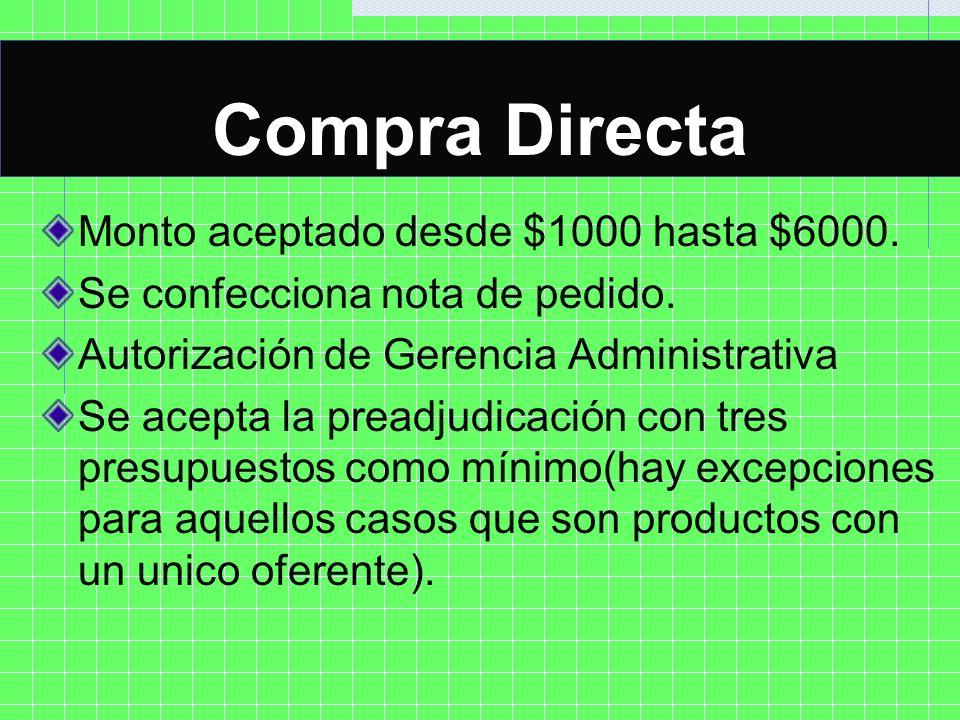 Compra Directa COMPRA DIRECTA Monto aceptado desde $1000 hasta $6000.