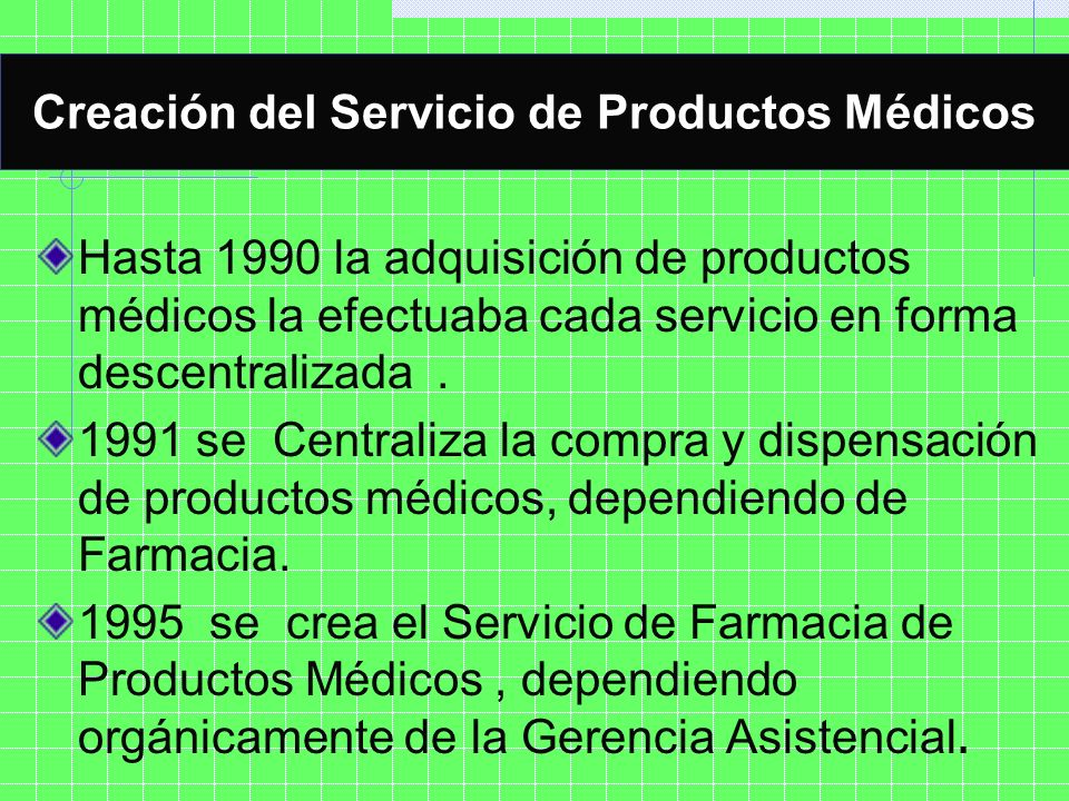 Creación del Servicio de Productos Médicos