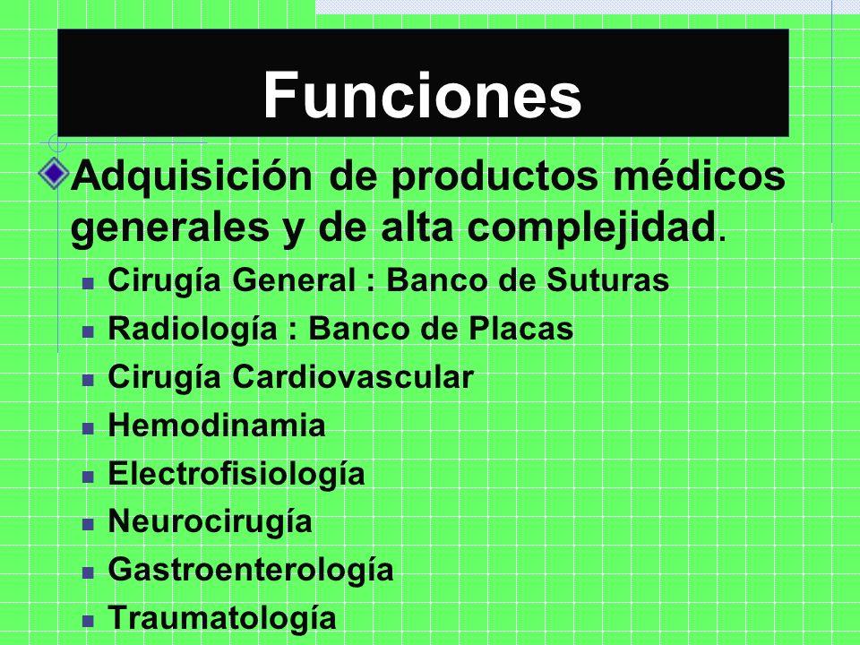 FuncionesAdquisición de productos médicos generales y de alta complejidad. Cirugía General : Banco de Suturas.