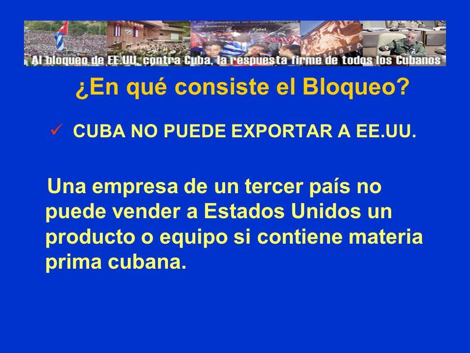 ¿En qué consiste el Bloqueo CUBA NO PUEDE EXPORTAR A EE.UU.