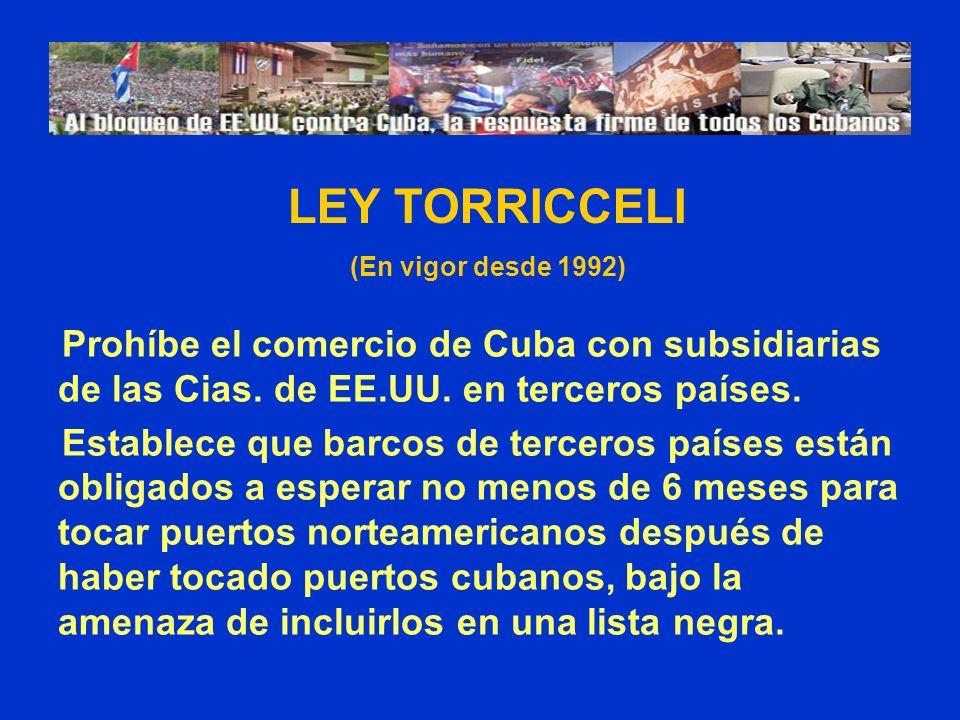 LEY TORRICCELI (En vigor desde 1992) Prohíbe el comercio de Cuba con subsidiarias de las Cias. de EE.UU. en terceros países.