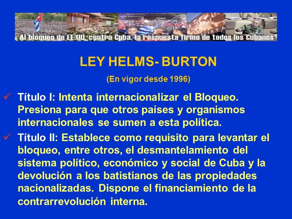 LEY HELMS- BURTON (En vigor desde 1996)