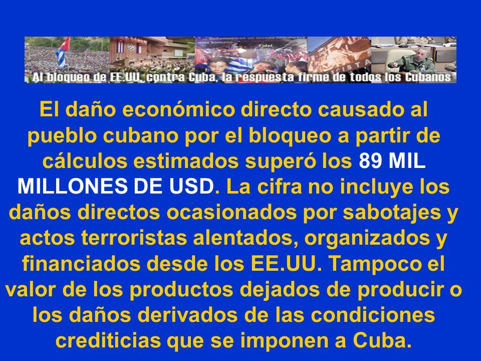 El daño económico directo causado al pueblo cubano por el bloqueo a partir de cálculos estimados superó los 89 MIL MILLONES DE USD.