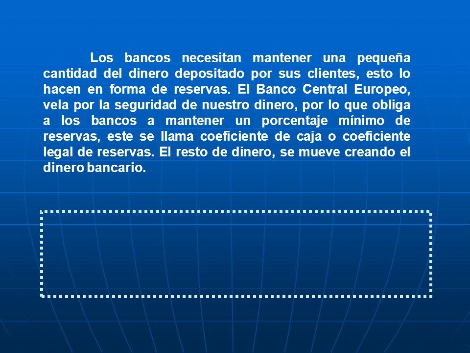 Los bancos necesitan mantener una pequeña cantidad del dinero depositado por sus clientes, esto lo hacen en forma de reservas.