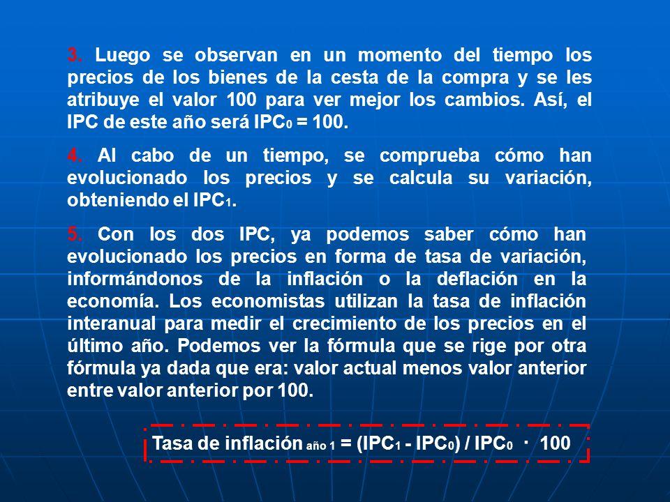 3. Luego se observan en un momento del tiempo los precios de los bienes de la cesta de la compra y se les atribuye el valor 100 para ver mejor los cambios. Así, el IPC de este año será IPC0 = 100.