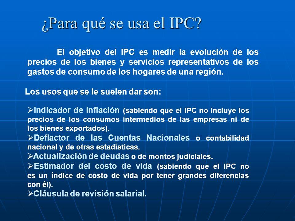 ¿Para qué se usa el IPC Los usos que se le suelen dar son: