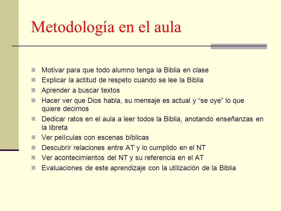 Metodología en el aula Motivar para que todo alumno tenga la Biblia en clase. Explicar la actitud de respeto cuando se lee la Biblia.