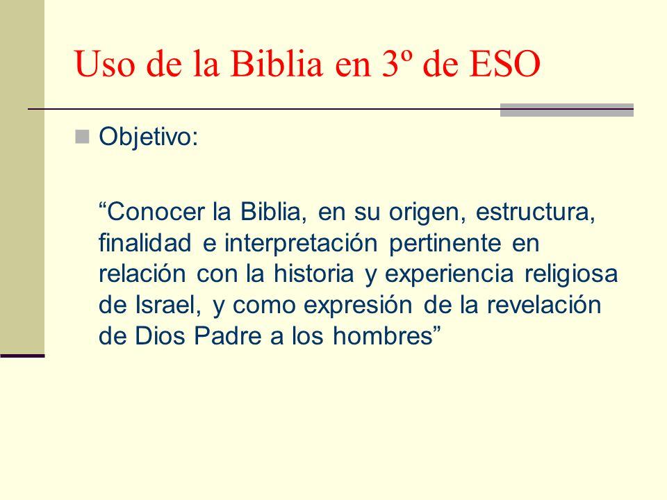 Uso de la Biblia en 3º de ESO