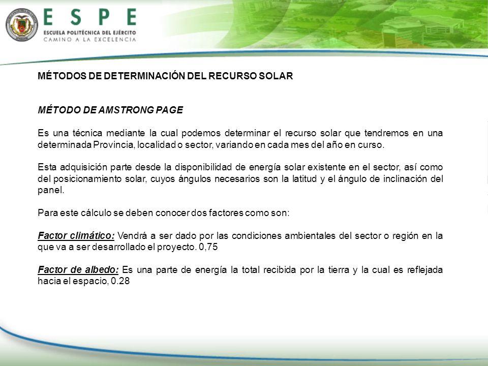 MÉTODOS DE DETERMINACIÓN DEL RECURSO SOLAR