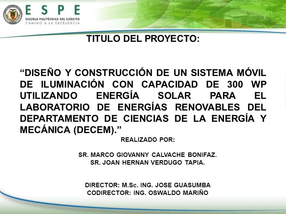SR. JOAN HERNAN VERDUGO TAPIA. CODIRECTOR: ING. OSWALDO MARIÑO