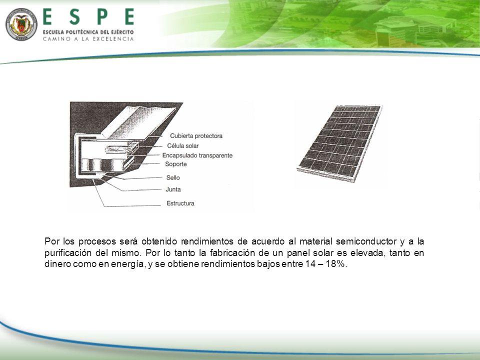 Por los procesos será obtenido rendimientos de acuerdo al material semiconductor y a la purificación del mismo.